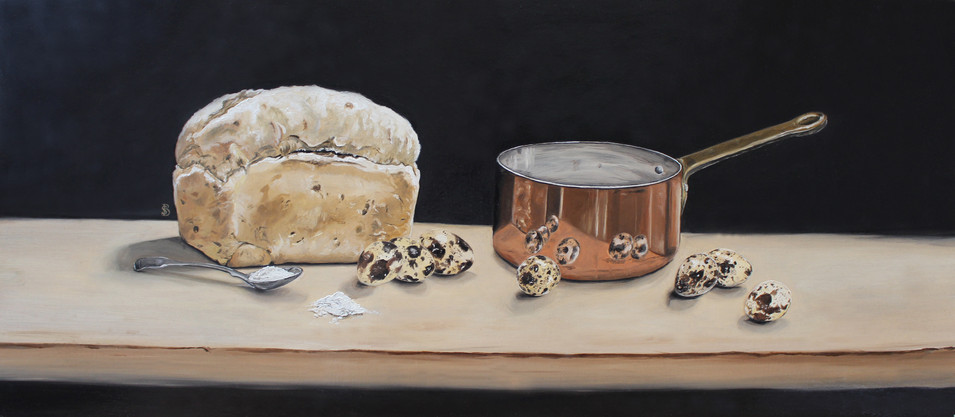 Copper Pan, Loaf of Bread & Quails Eggs