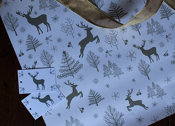 White Deer Christmas Wrapping Paper