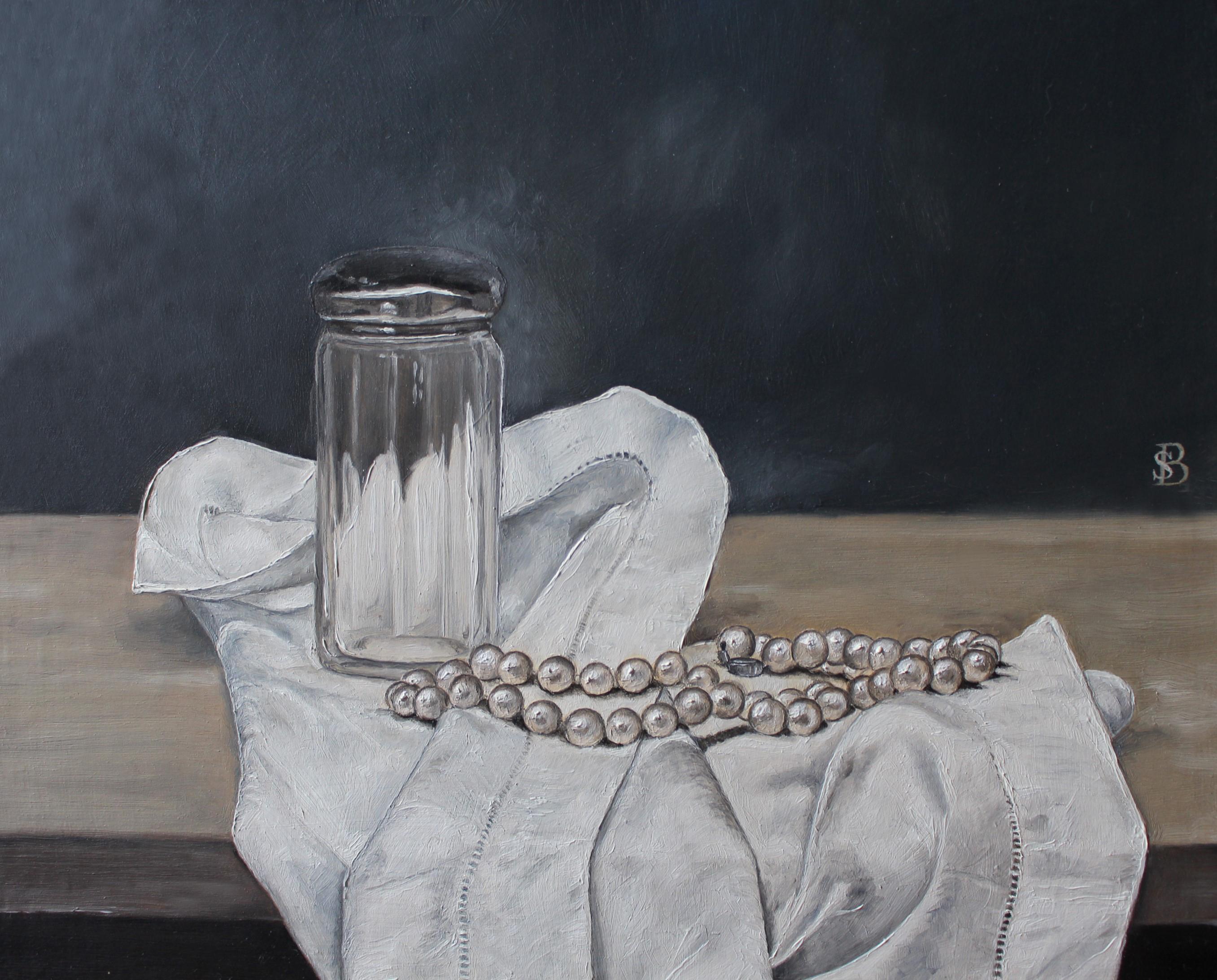 GLASS JAR, PEARLS & HANDKERCHIEF