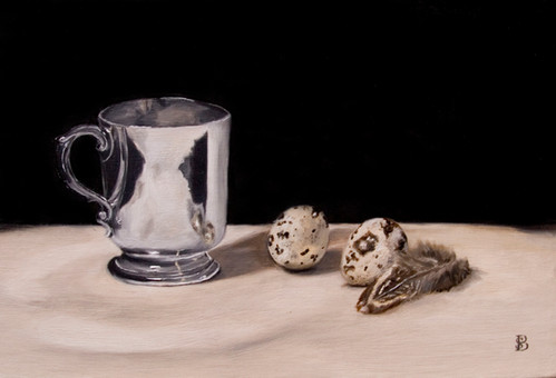 008- Silver Cup, Quails Eggs & Feather.J