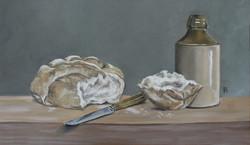 Bread, Knife & Earthware Pot