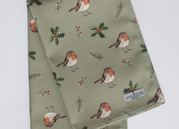 Christmas Robins Tea Towel (Trade)