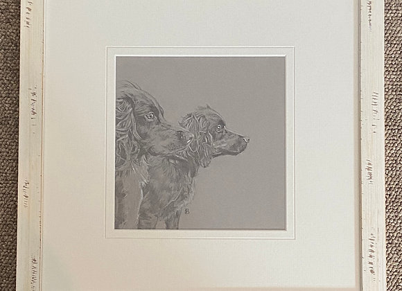 Spaniels Original Framed Drawing