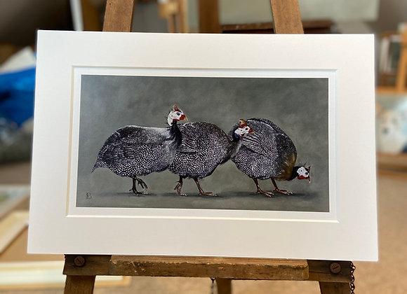 Three Guinea Fowl