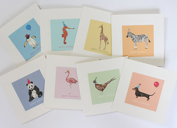 Mixed Pack of 8 Party Animal Birthday Cards