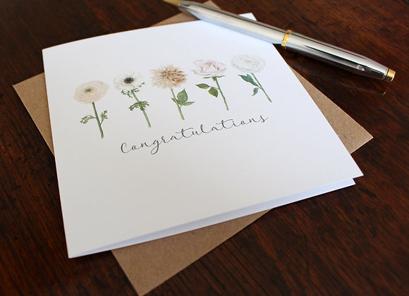 Congratulations Row of Flowers Greetings Card (Trade)