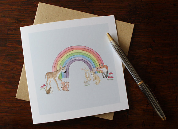 Woodland Rainbow Greetings Card