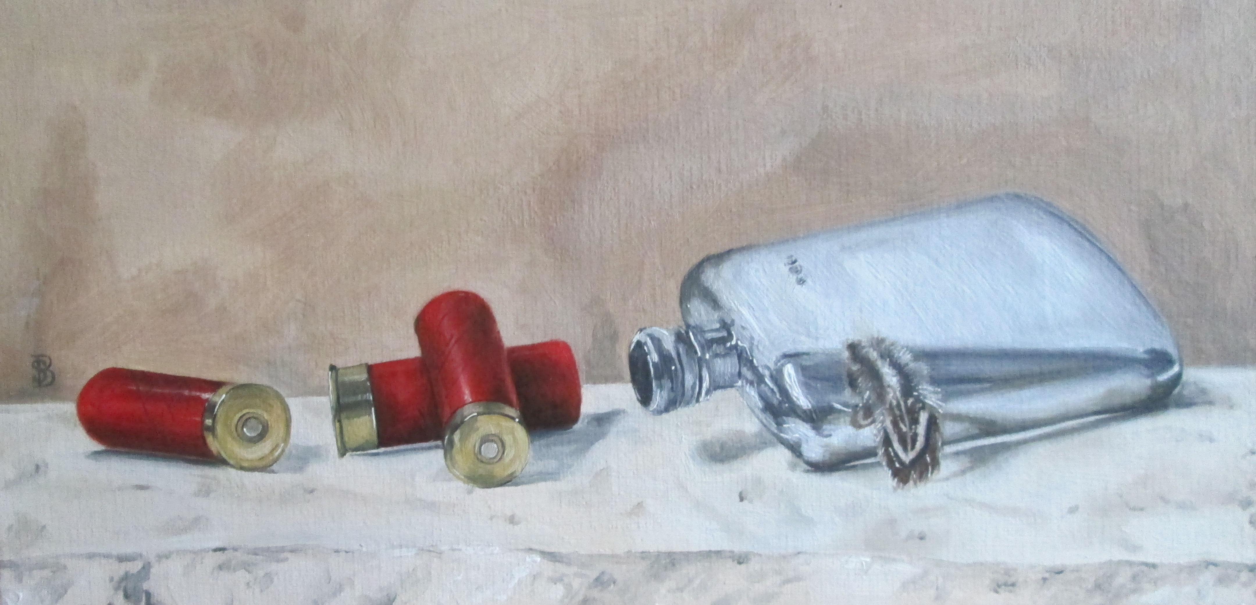 CARTRIDGES, HIP FLASK & FEATHER