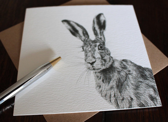 Brown Hare Drawing Greetings Card