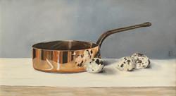 Copper Pan & Quails Eggs