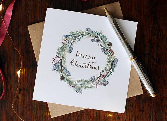 Guinea Fowl Wreath Christmas Card (Trade)