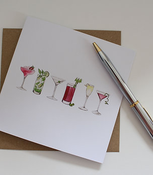 Cocktails Greetings Card