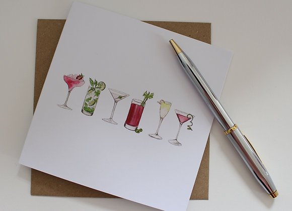 Cocktails Greetings Card (Trade)