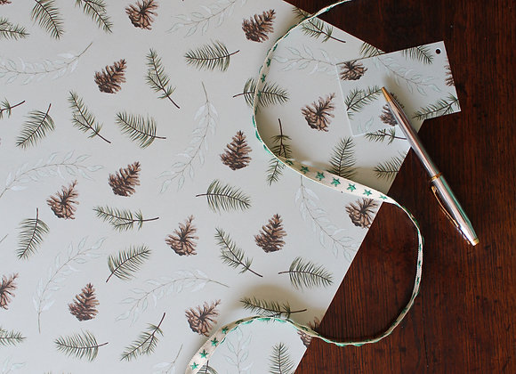 Fir Cone & Foliage Christmas Wrapping Paper