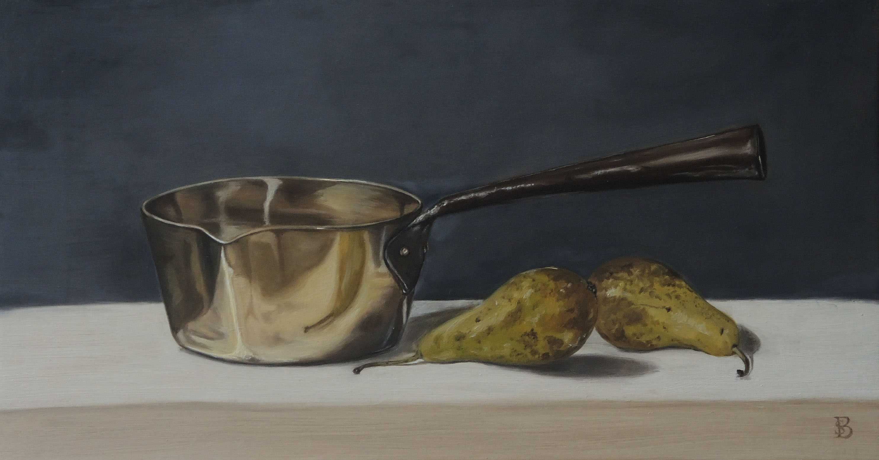 BRASS PAN & TWO PEARS