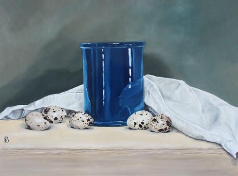 Blue Ceramic Pot, Quails Eggs