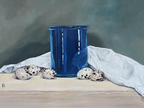 Blue Ceramic Pot & Quails Eggs