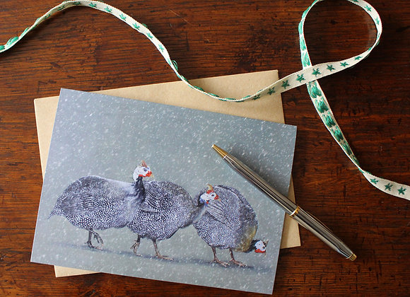Guinea Fowl Christmas Card