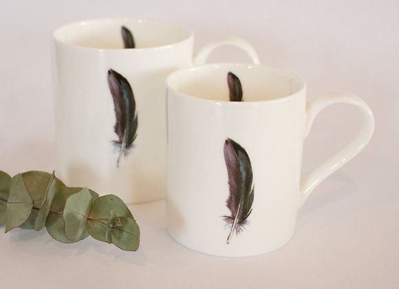 Teal Feather Mug