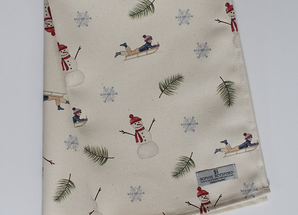 Christmas Sledging & Snowmen Tea Towel