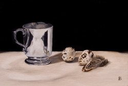 SILVER CUP, QUAILS EGGS & FEATHER