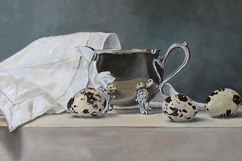 Silver Jug, Quails Eggs & Linen Cloth