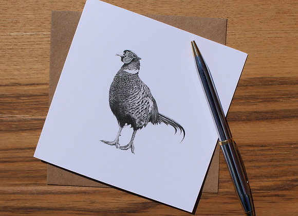 Standing Pheasant Drawing Greetings Card