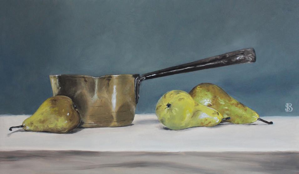 Copper Pan & Three Pears