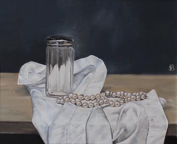 Glass Trinket Jar, Pearls and Linen Handkerchief
