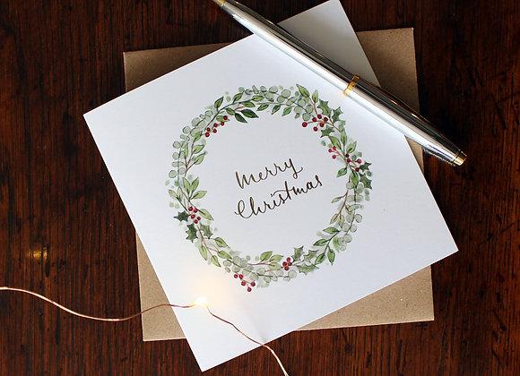 Holly Wreath Christmas Card