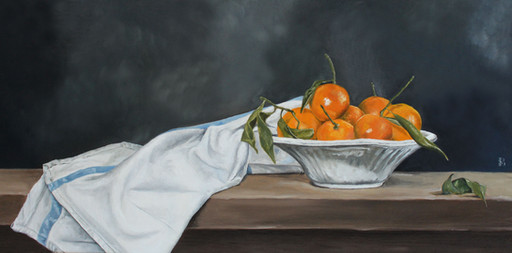 Bowl of Clementines with linen Cloth