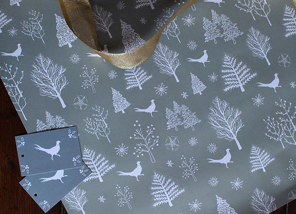 Grey Pheasant Christmas Wrapping Paper