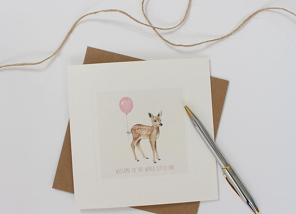 Pink Fawn Baby Card