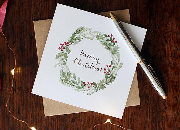 Mistletoe Wreath Christmas Card