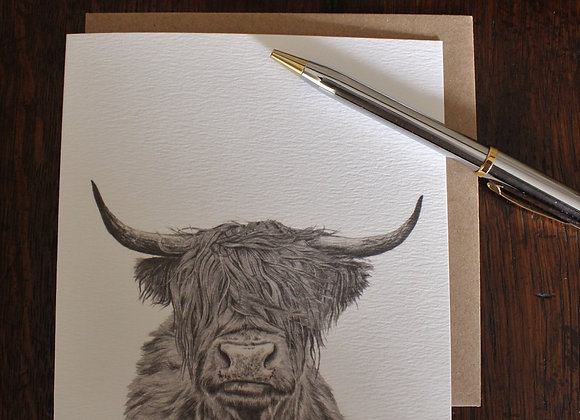Highland Cow Drawing Greetings Card (Trade)