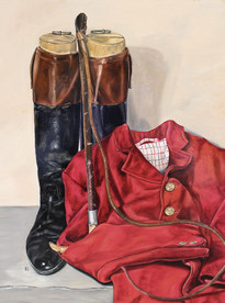 Hunting Boots Red Coat & Whip