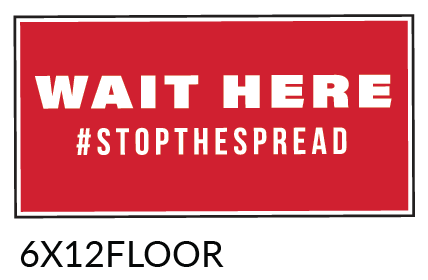"""Covid 19 Wait Here Floor Graphic 6"""" x 12"""" Rectangle"""