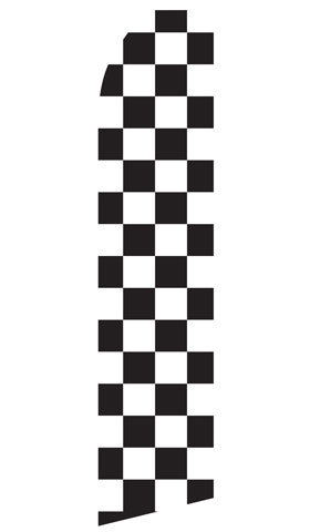 Stock Black and White Checker Feather Flag