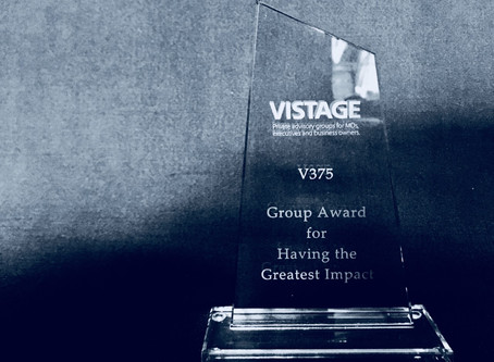 Vistage award for our MD