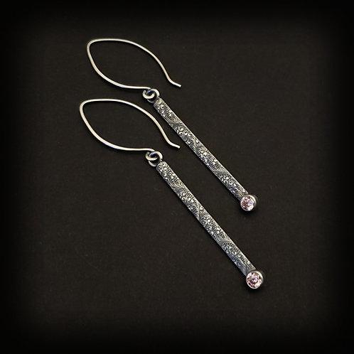 Pink CZ drop earrings