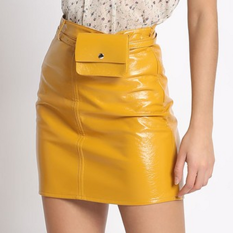 Pouch Me Perfect Belted Faux Leather Skirt