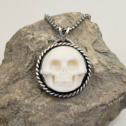 #1185 - Skull carved buffalo bone