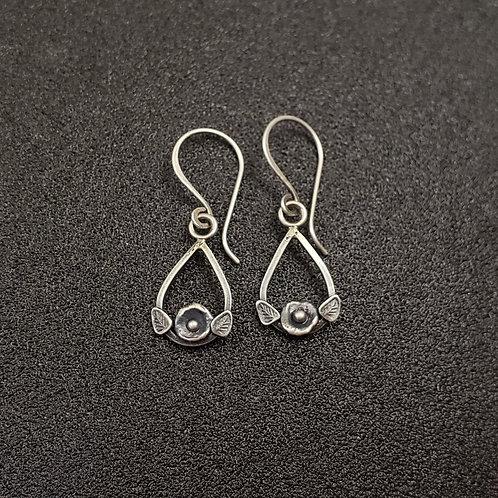 Sterling silver flower drop earrings