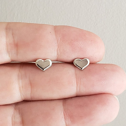 Double layer sterling HEART studs