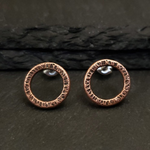 Hammered copper circles