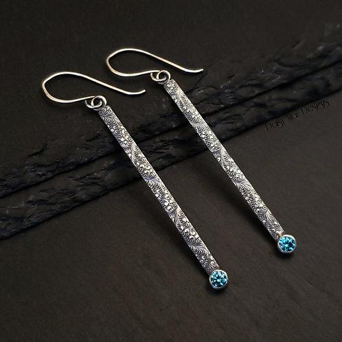 Blue Topaz CZ drop earrings