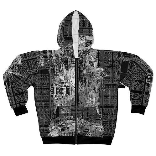 ALL BLACK -INTERSECTION hoodie by OREWILER - AOP Unisex Zip Hoodie