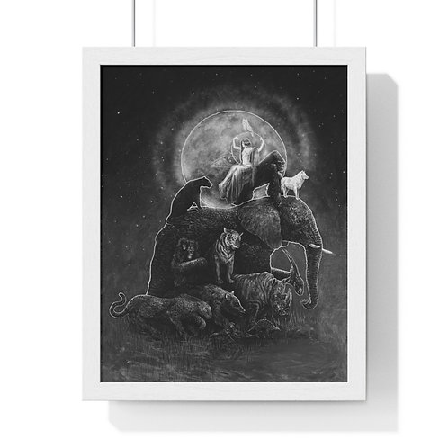 GAIA - Mother Earth & animals by OREWILER - Premium Framed Vertical Poster