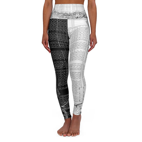 B/W YINYANG INTERSECTION by OREWILER - High Waisted Yoga Leggings