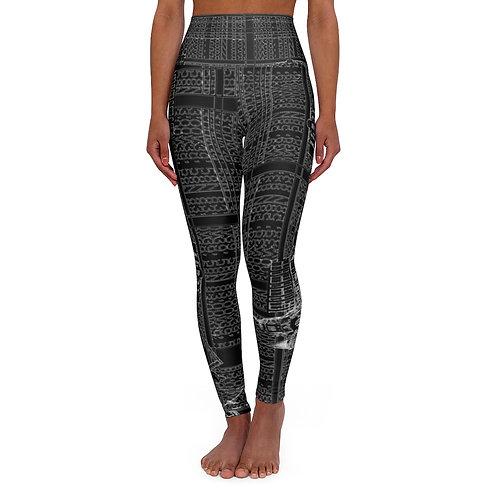 BLACK INTERSECTION design by OREWILER - High Waisted Yoga Leggings
